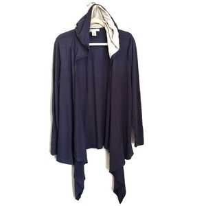 Kenar Waterfall Cardigan Open Front Hooded L Large